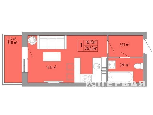 1 bedroom apartment 26 sq.m. in a new house on Pishonovskaya