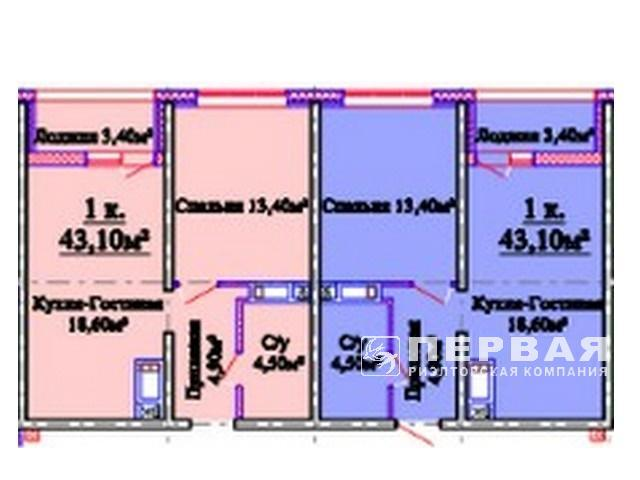 1-room apartment 42.5 sq.m. in the new house of the Horizont RC on the street. Kostandi/Lustdorf Road