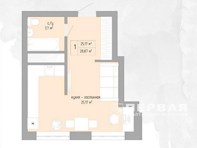 1-но комнатная квартира 30 кв.м. в новом доме на Вильямса.