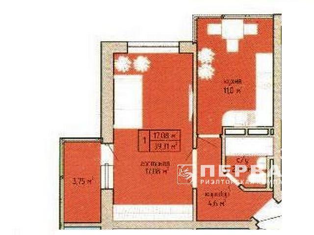 1-но комнатная квартира 40 кв.м. в новом сданном доме на Вильямса.