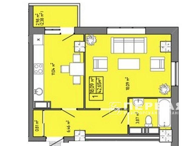 """1-но кімн. квартири жк """"Акварель"""" на вул. Пишоновській."""