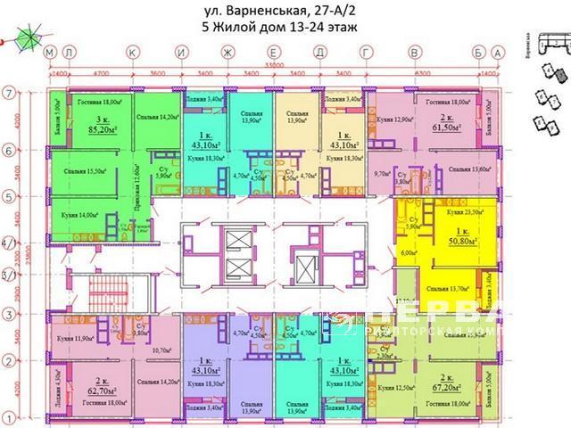 Новий ЖК Скай Сіті, 1-кімнатні квартири 42 кв. м. загальна площа. Варненська 27A