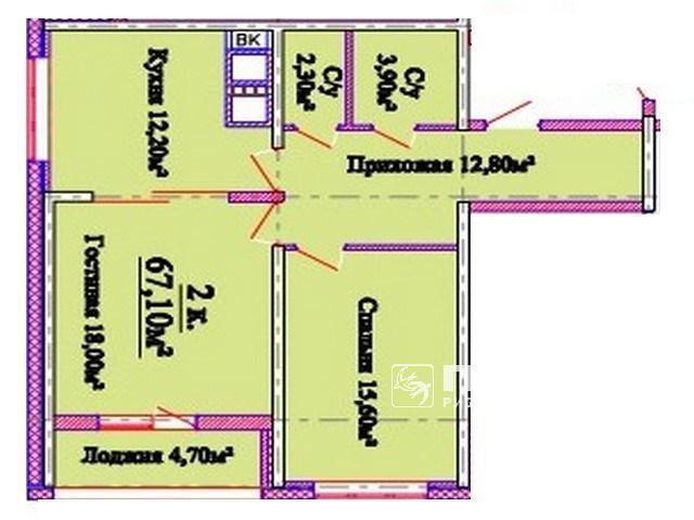 Двокімнатні квартири від 60,7 кв. м. у новому ЖК Омега на пл. Толбухіна 135.