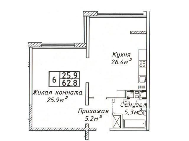 "ЖК ""Руслан та Людмила"", 1-кімнатна квартира 63 кв. м. на вул. Літературна"