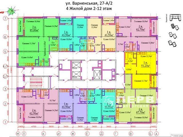 2-х комнатные квартиры от 58кв.м. Новый ЖК«Скай Сити»