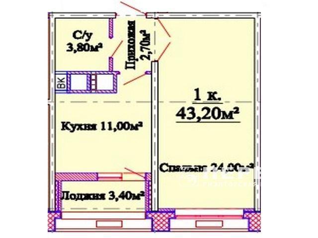 1-но комн. квартиры от 43 кв.м.  ЖК «Омега»