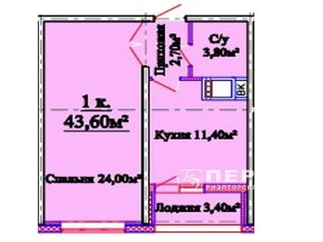 """1-кімнатні квартири від 43 кв. м. в новому будинку на вулиці. Костанді ЖК """"Горизонт"""""""