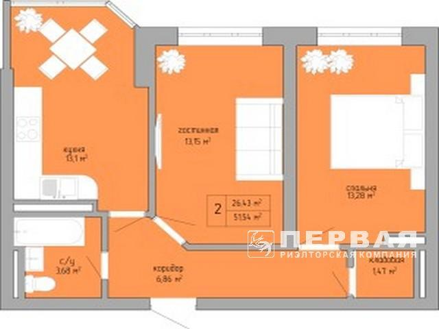 2-х комн. квартира 52,4 кв.м в сданном доме на Вильямса.