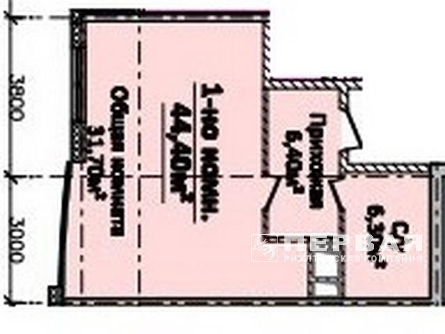 1-но комнатная квартира 44 кв.м. ЖК «Новый берег»