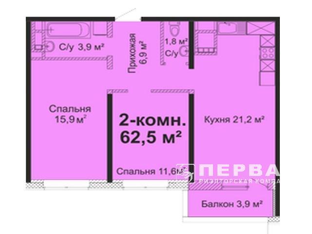 3-х комнатная квартира 61 кв.м.  ЖК«Скай Сити»