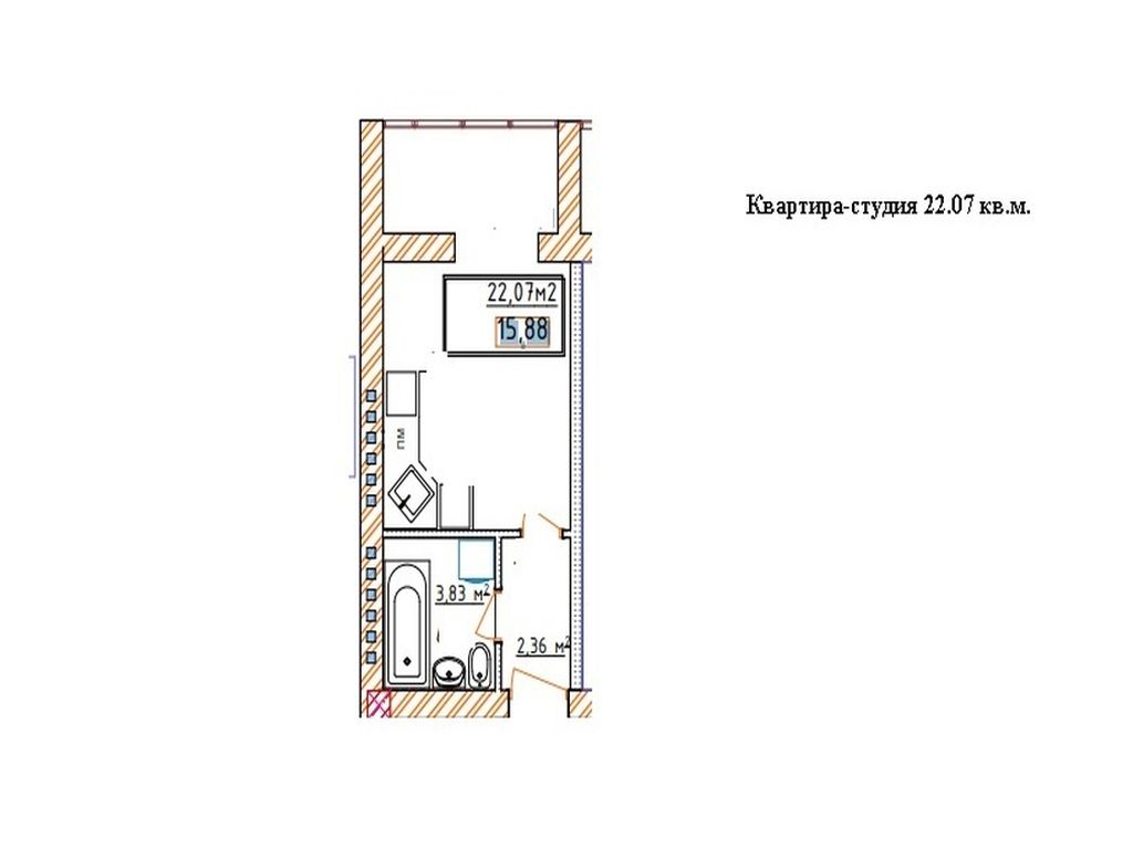 Квартира-студия 22 кв.м.  ЖК Озерки