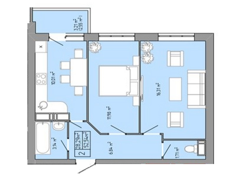 2-room apartment 53 sqm in a new building on Pishonovskaya