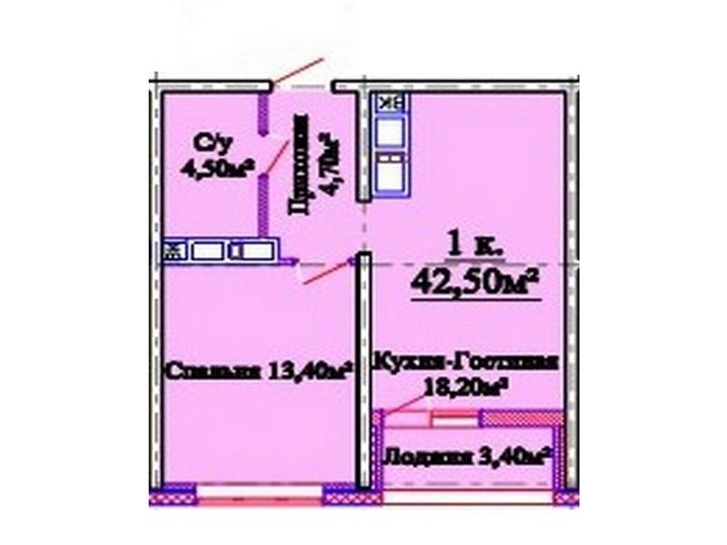 1-но комнатная квартира 43 кв.м. в новом сданном доме ЖК «Горизонт»