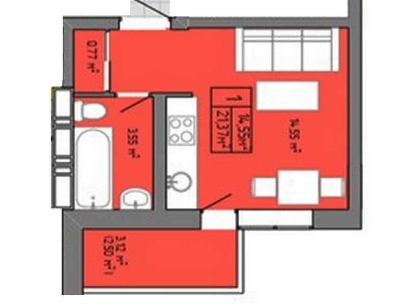 1-но комнатная квартира на Пишоновской