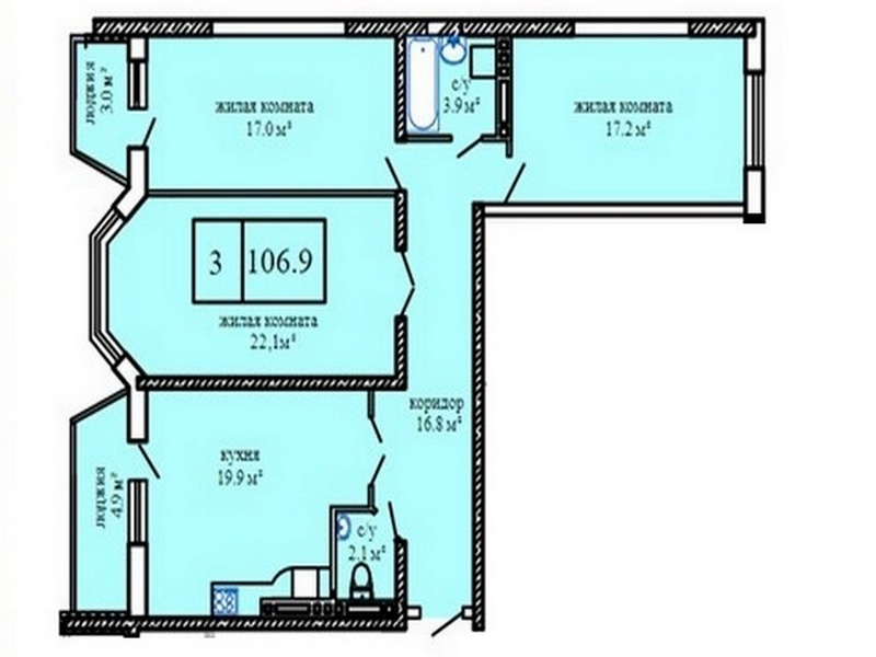 A new house on the street. Kostandi 3-room apartment