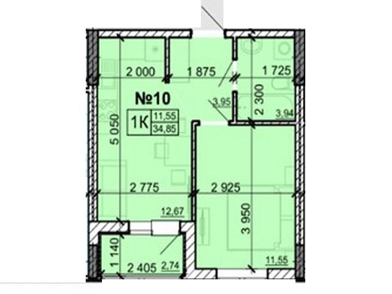 1-но комнатная квартира 26 кв.м. в новом доме