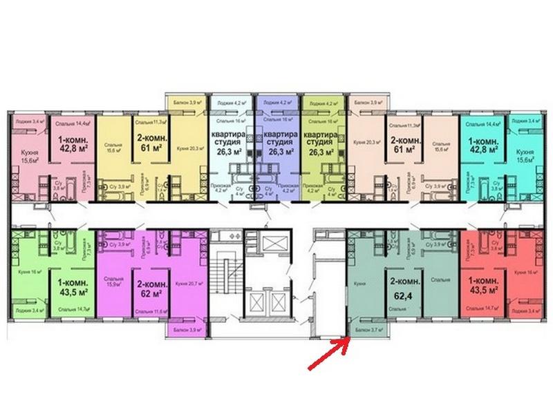 2-х комнатная квартира 62,4 кв.м. на ул. Варненской