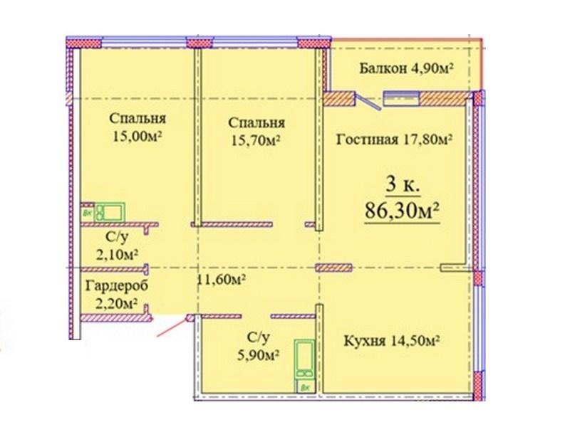 3-х комнатная квартира 86 кв.м. в новом доме на ул. Жаботинского.