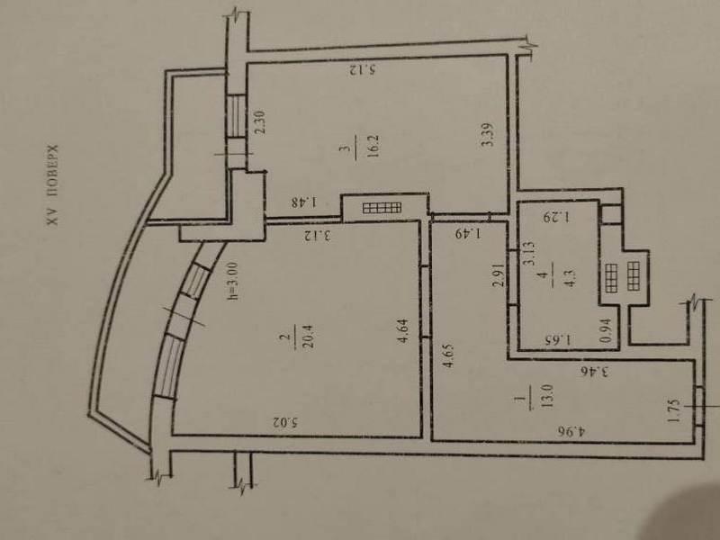 1-но кімнатна квартира 56,6 кв.м.