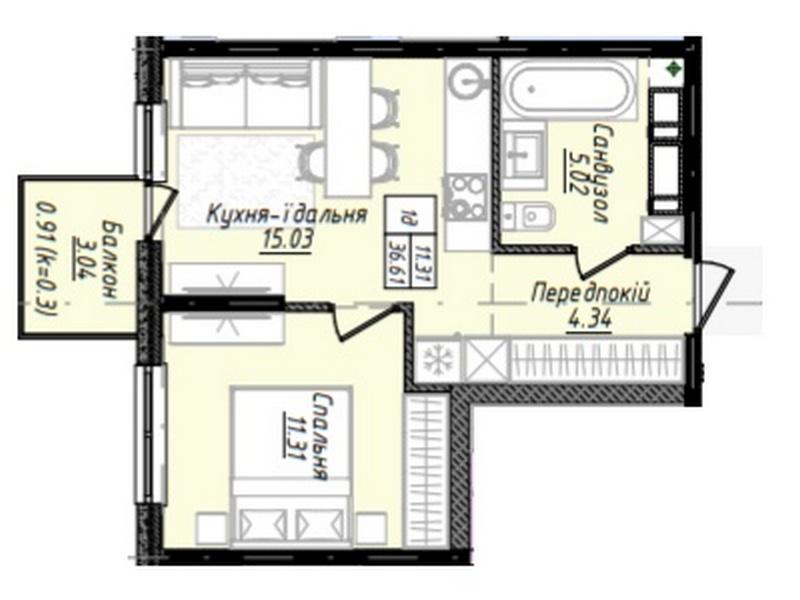 1-но комнатные квартиры от 29 кв.м. в новом доме на ул. Варненская