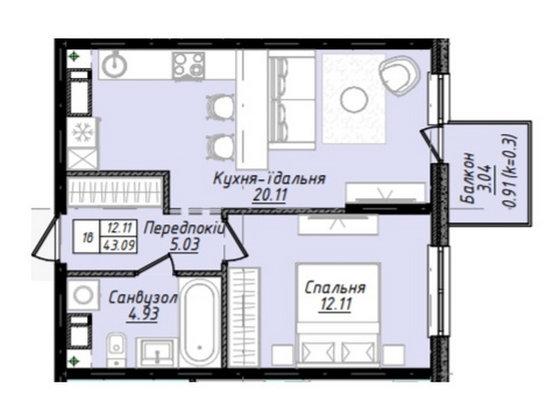 2-room apartments from 53 sq.m. in a new house on the street. Varna