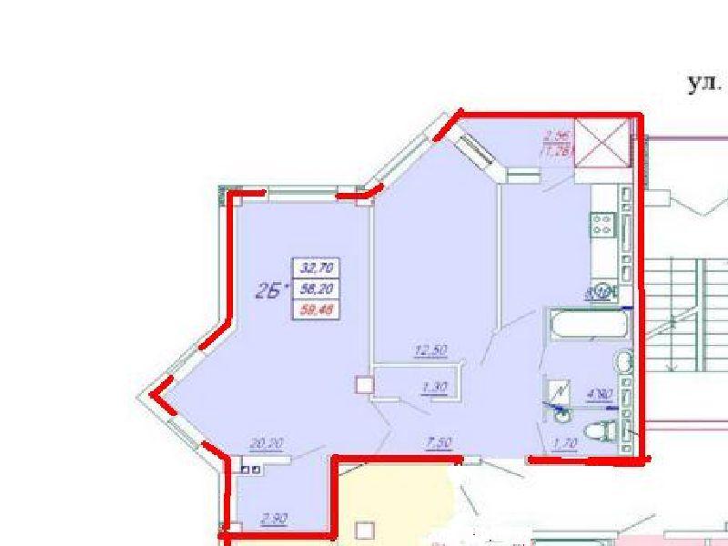 2-х кімнатна Квартира 59,5 кв. м., вул. Заболотного