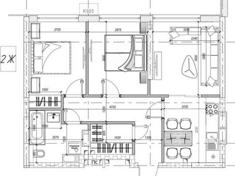 2-х комнатная квартира 70 кв.м. ЖК «МАНХЕТТЕН»