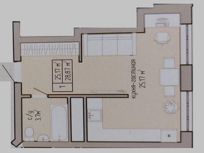 1-но комнатная квартира в сданном доме на Вильямса.